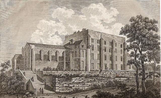 Le Donjon et la Collégiale au 18e. Gravure de Tavernier et Née