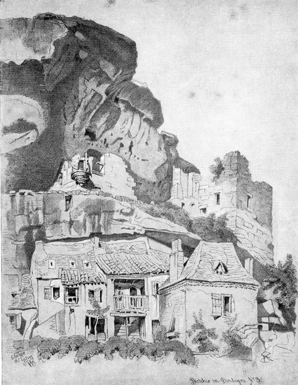 Site des Eyzies-de-Tayac. Gravure 19e siècle