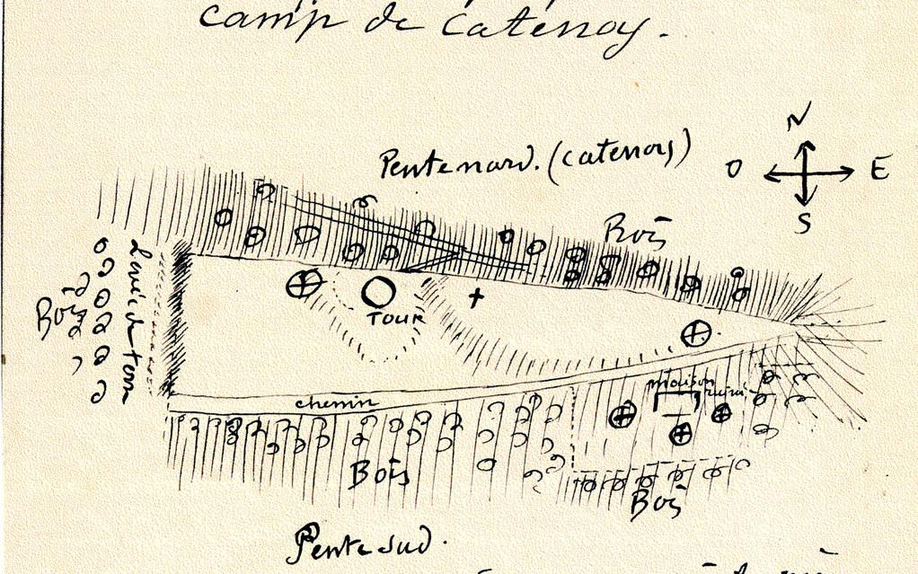 Le site du « Camp de César » à Catenoy. Dessin de l'abbé Breuil