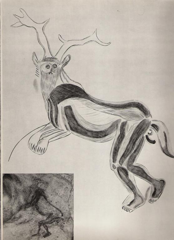 """""""Le sorcier"""". photo et dessin.Grotte des Trois frères (Montesquieu-Avantès, Ariège)"""