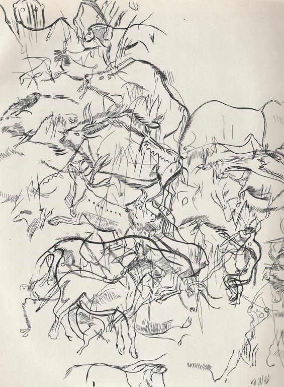 Relevé de gravures enchevêtrées à la Grotte des Trois frères (Ariège)