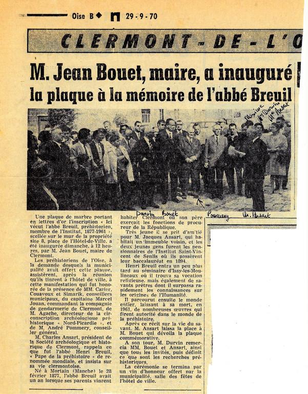 Inauguration de la plaque Breuil en 1970