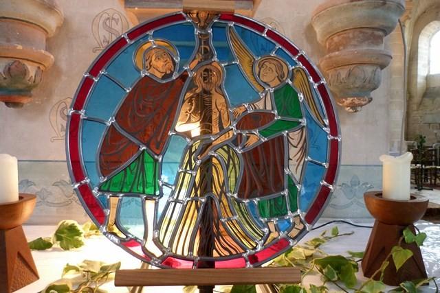 copie par Maya Reich d'un vitrail du XIIIème siècle de Breuil-le-Vert