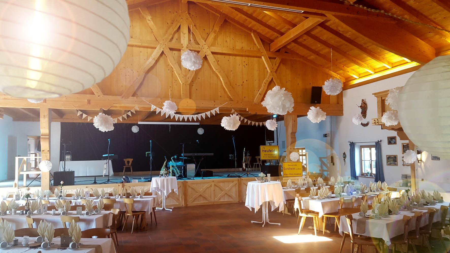 Großer Hochzeitssaal im Trachtenheim Irschenberg