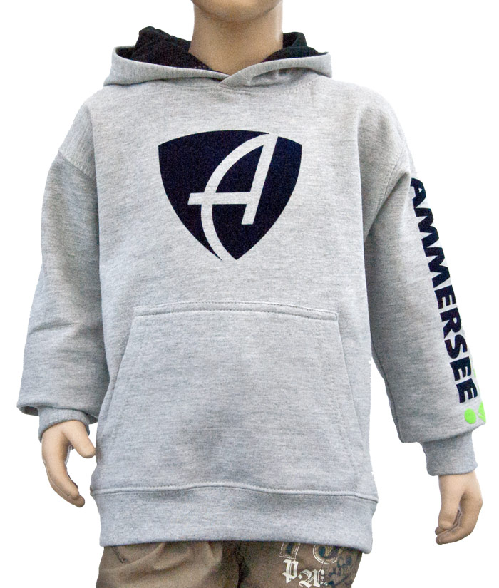 Kids Hoodie Brand Grey Stone | Front