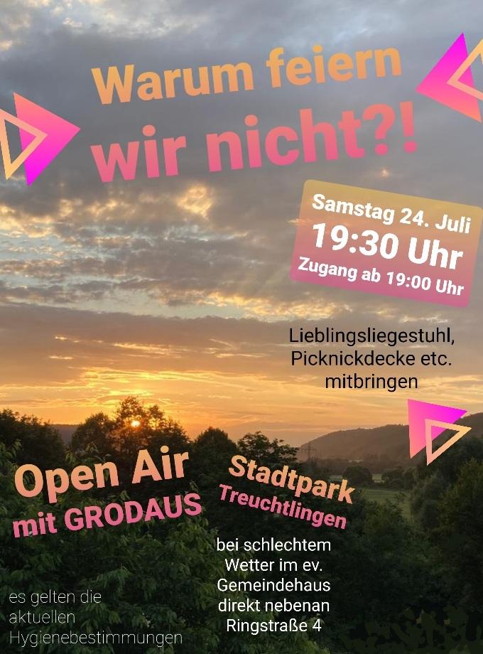 Open-Air Gottesdienst am Samstag, 24.07.2021 um 19.30 Uhr bei schönem Wetter im Stadtpark Treuchtlingen