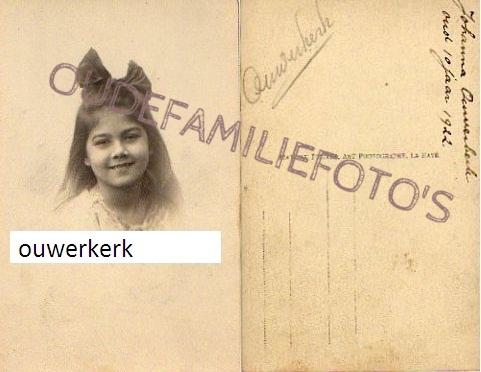 Ouwerkerk, Johanna. geb.1912 dochter van Adolphus Mattheus Johannes en  Nicolina D'Abo. € 3,00