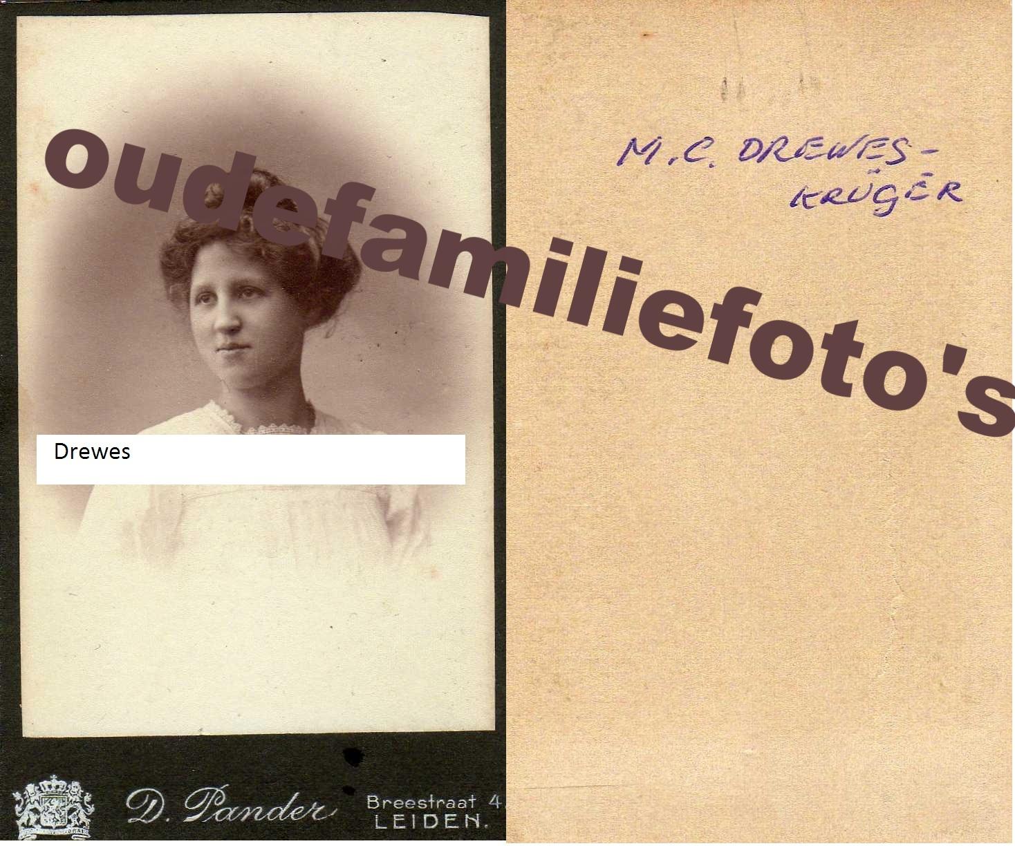 Kruger, Maria Cornelia. geb. 22-5-1890 Leiden. Getrouwd met Edde Drewes € 3,50