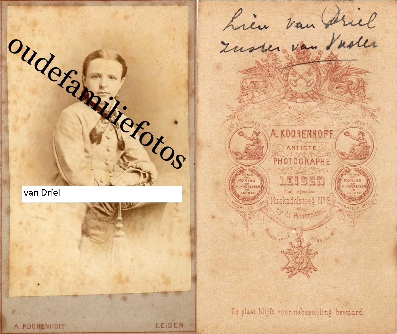Driel, van Engelina Bastiana Geb. 15-1-1863 Leiden Ovl. 22-4-1942 Leiden. Ouders: Bastiaan en Gisette de Vroede. € 3,50