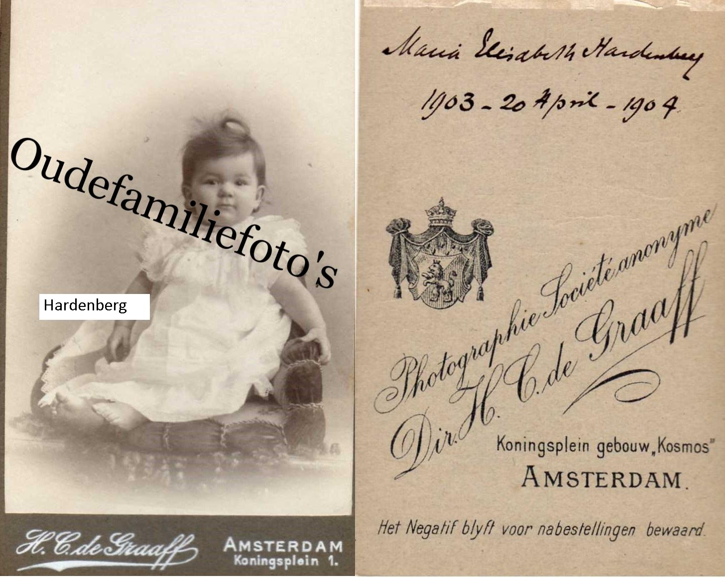 Hardenberg, Maria Elisabeth. Geb. 20-4-1903 Amsterdam Ouders: Jan Jezayas Christiaan- Jacoba Cornelia Admiraal € 3,00