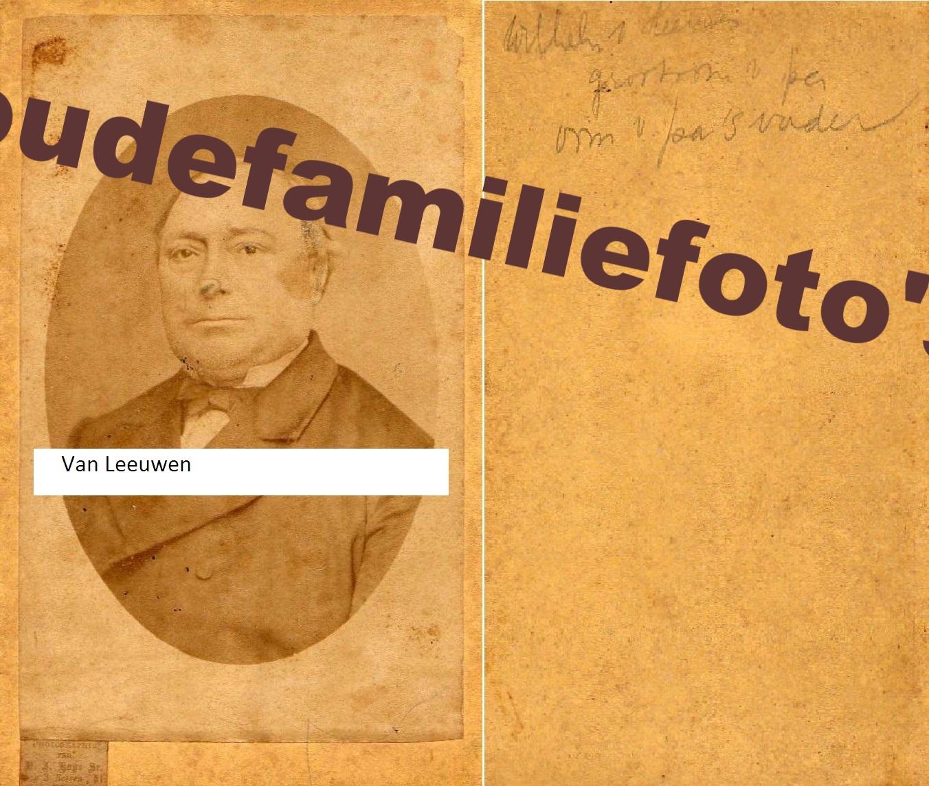 Leeuwen van, Wilhelmus geb. (7)-5-1818 Den-Haag. Zoon van Gerrit en Pieternelletje Parlevliet. € 4,00