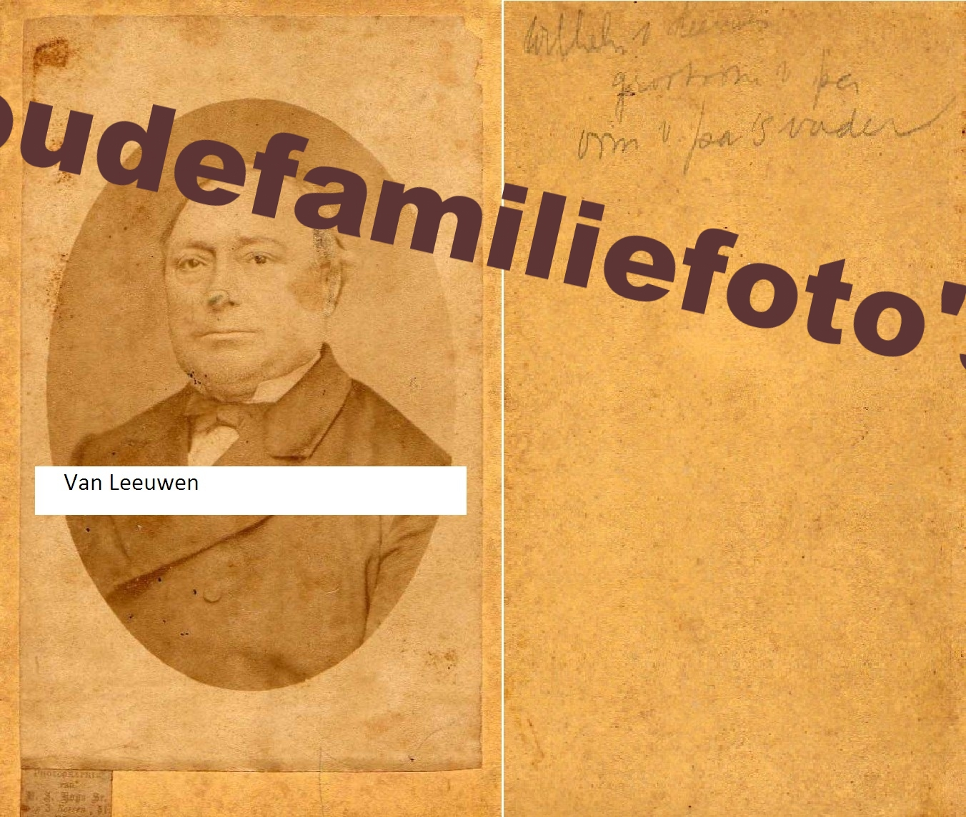 Leeuwen van, Wilhelmus geb. (7)-5-1818 Den-Haag. Zoon van Gerrit en Pieternelletje Parlevliet. € Prijs in overleg