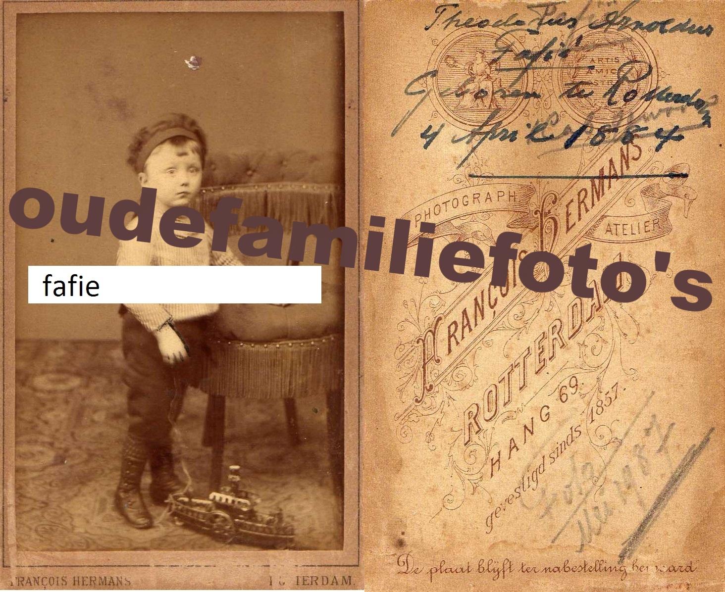 Fafié, Theodorus Arnoldus. Geboren 4 april 1884 Rotterdam € 4,00