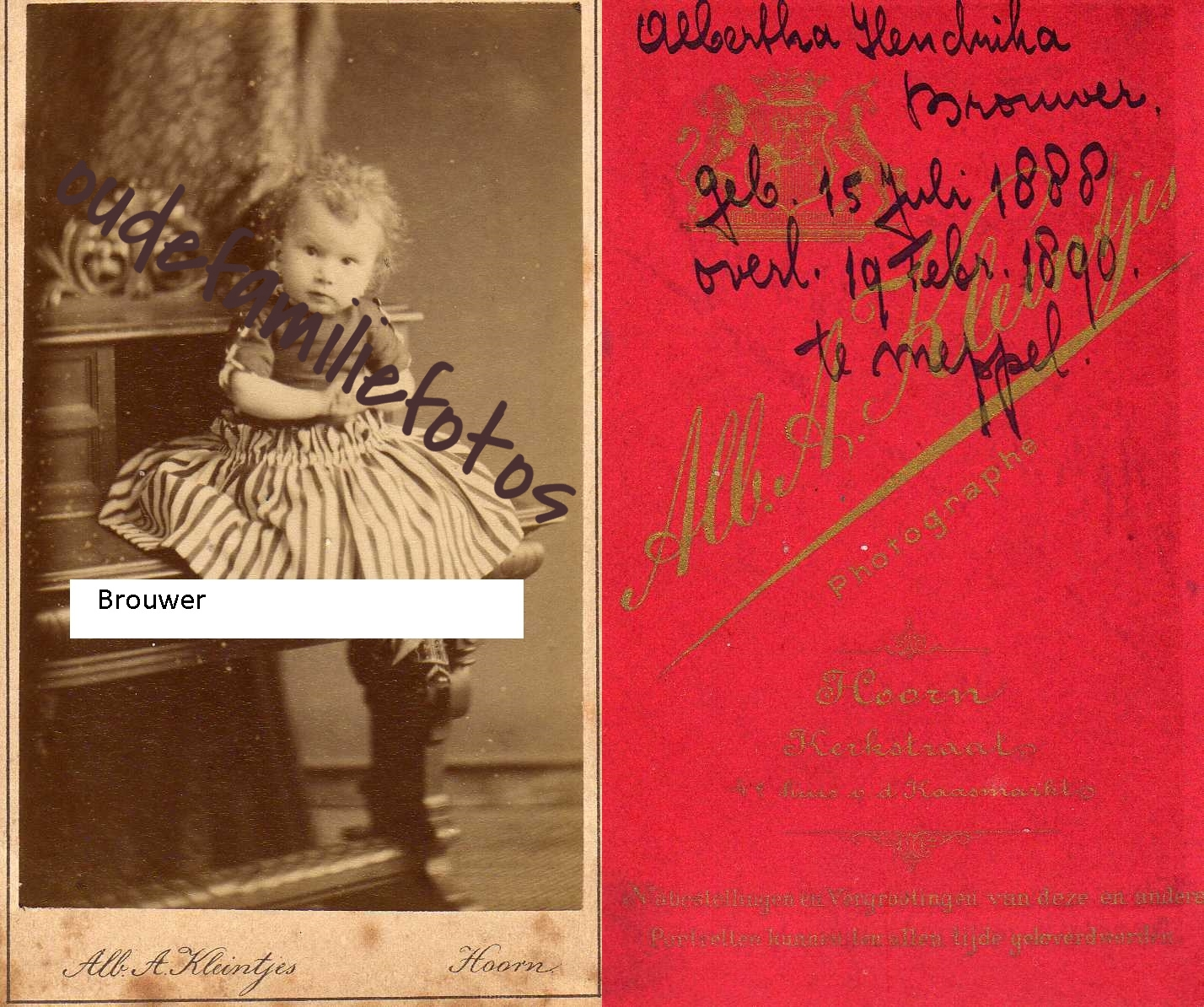 Brouwer, Albertha Hendrika Geb. 15-7-1888 ovl. 19-2-1890 Meppel. Ouders: Gerhardus en Rensje Wildeboer. € 3,00