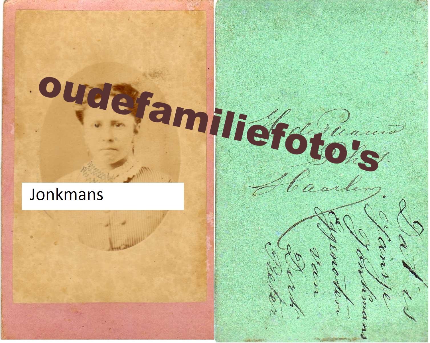 Jonkmans, Johanna Gerarda. geboren: 26-12-1849 Haarlem. getrouwd met Dirk Pieter Hoos € 3,00