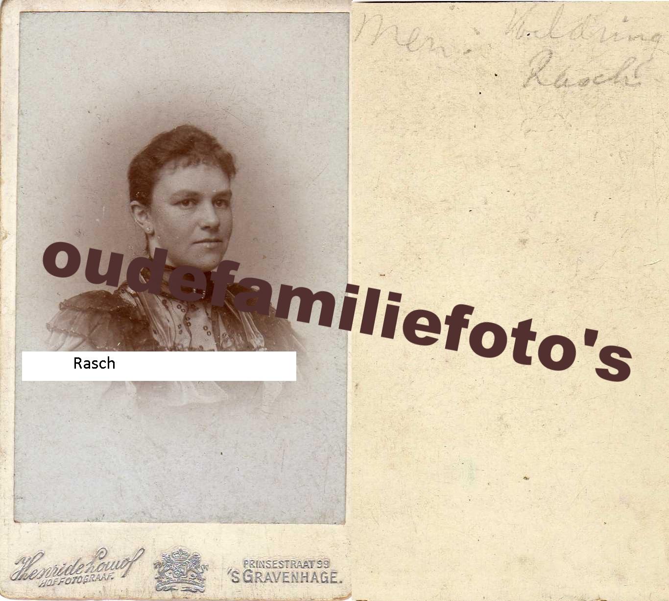 Rasch, Wilhelmina Adriana. geb. 23-4-1861 den-haag. ovl. 11-2-1931 den-haag. getrouwd Justinus J.L Heldring. € 3,50