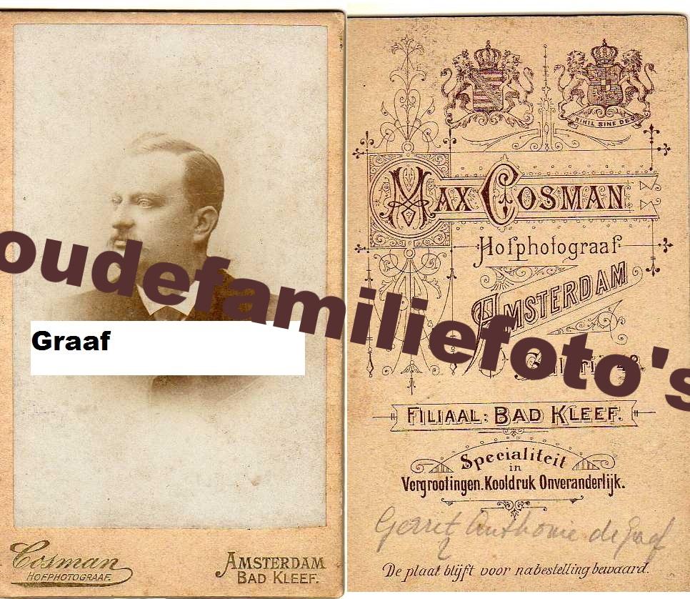 Graaf de, Gerrit Antonie. Geboren 15-8-1874 Den Helder € 3,00