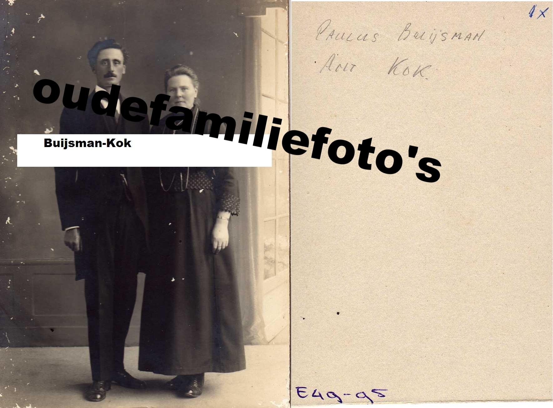 € 3,00 Buijsman Paulus en Kok Antje getrouwd 25-5-1921 Grotebroek