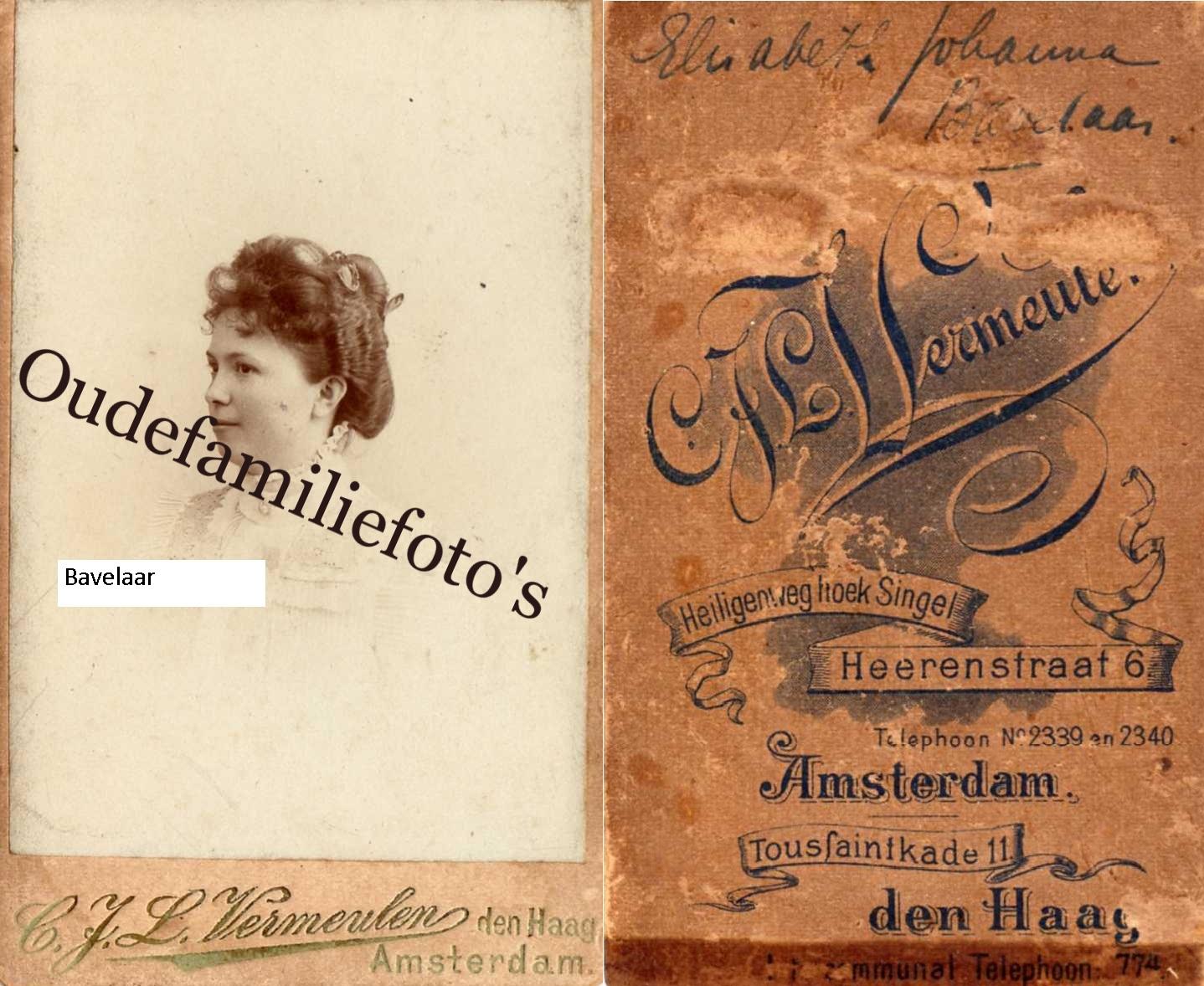 Bavelaar, Elisabeth Johanna. Geb. 30-4-1870 Amsterdam. Getrouwd met Jan Keppler. € 2,00