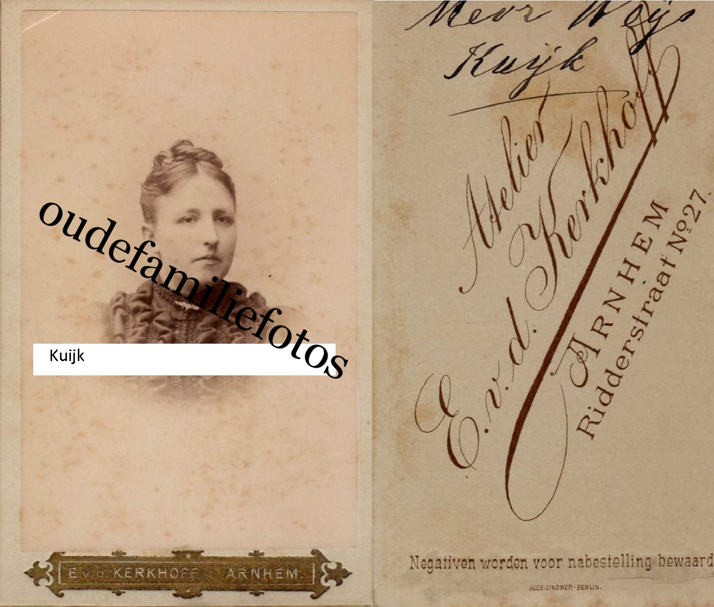 Kuijk, Hermina Theodora Willemina. Geb. 17-11-1860 Arnhem Ovl. 31-10-1948 Velp. getrouwd Johan Willem Weijs. € 3,00