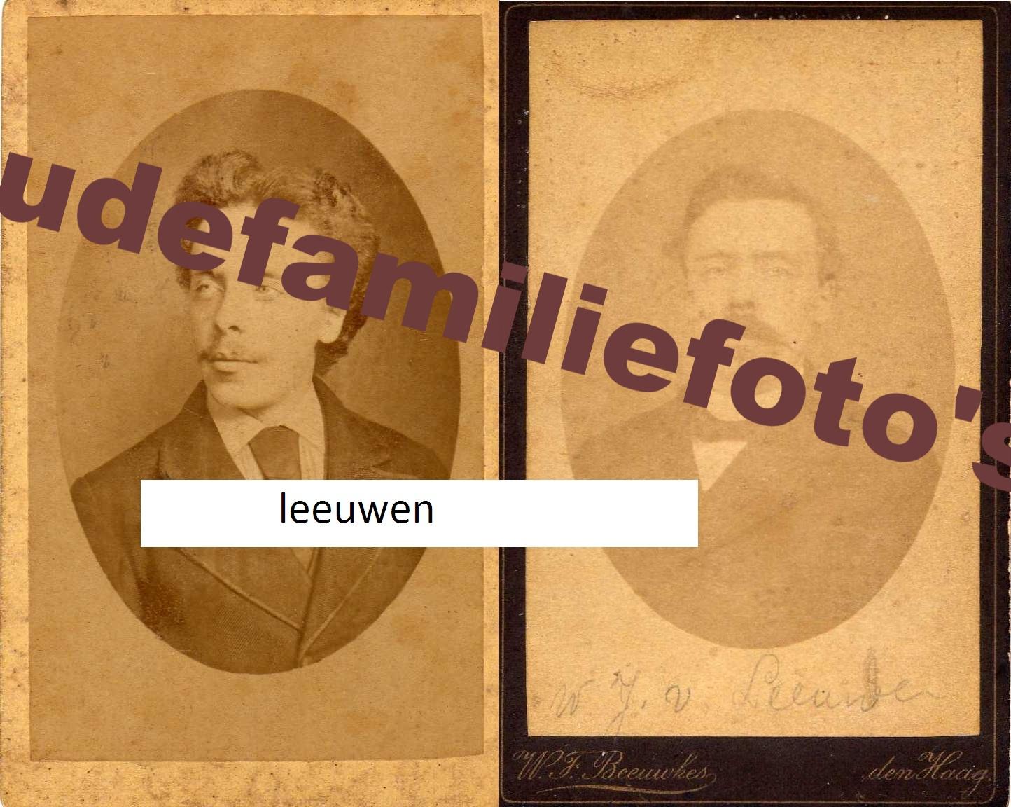 Leeuwen van, Wilhelmus Johannes. geb. 4-2-1860 Den-Haag. Zoon van Wilhelmus en Anna Maria v/d Zande. € Prijs in overleg.