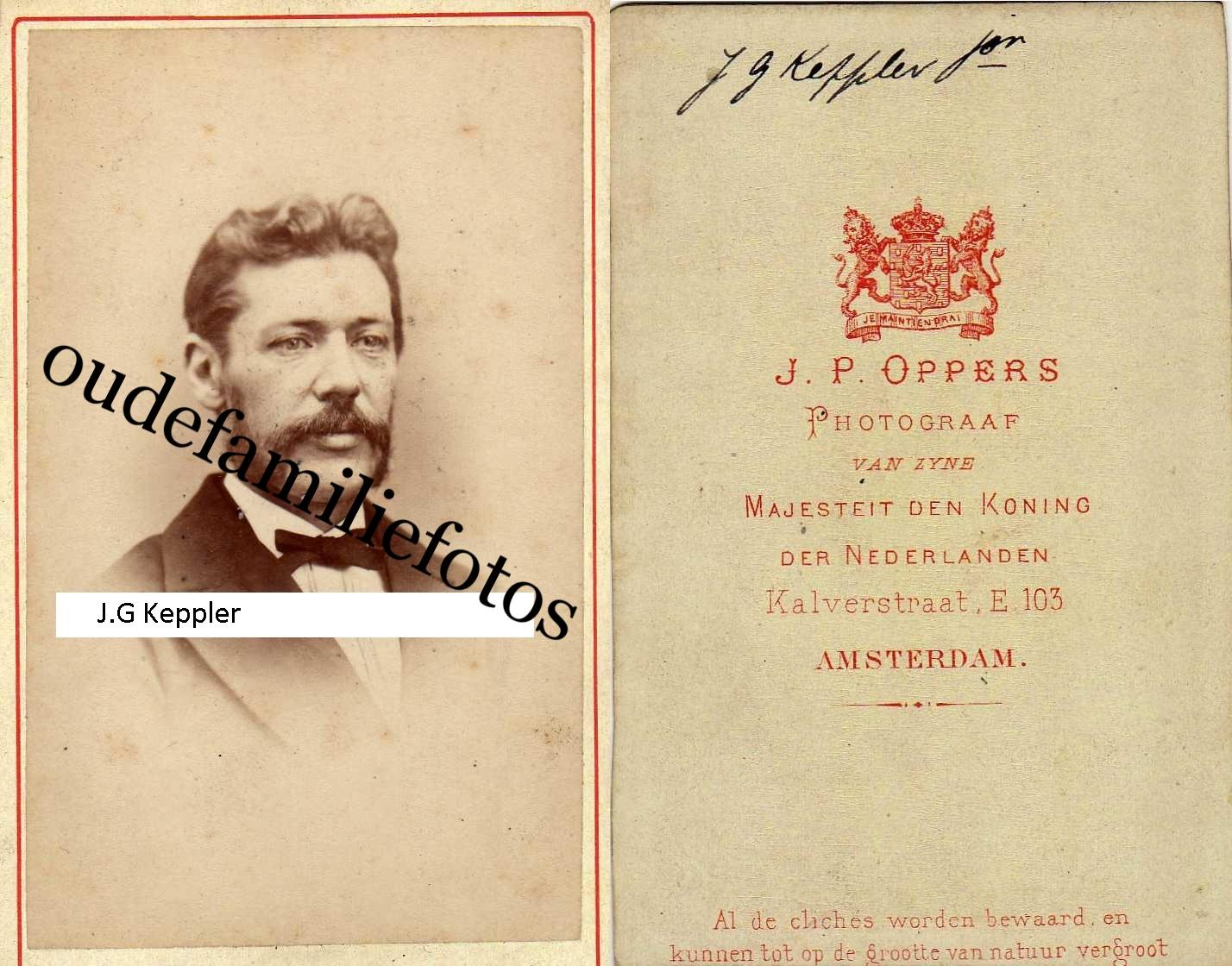 Keppler, Johan Georg. geb. 15-11-1839 A'dam ovl. 13-10-1891 Den-Haag. getrouwd met Maria Ch. Lugt. € 2,00