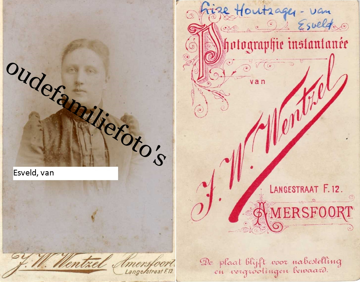 Esveld van, Elisabeth. Geb. 26-1-1874 Amersfoort ovl. 22-5-1956 Amersfoort Getrouwd met A.P Houtzager. € 3,00