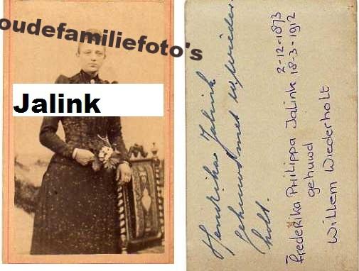 Jalink, Frederika Phillippa. geboren: 2-12-1873 Almelo. getrouwd met Willem Wiederholt € 3,50