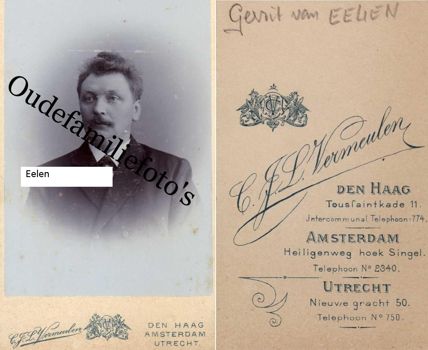 Eelen van, Gerrit Geb. 22-3-1857 Zwolle Ovl. 10-9-1914 Zwolle getouwd met W.H. Bot. € 2,00