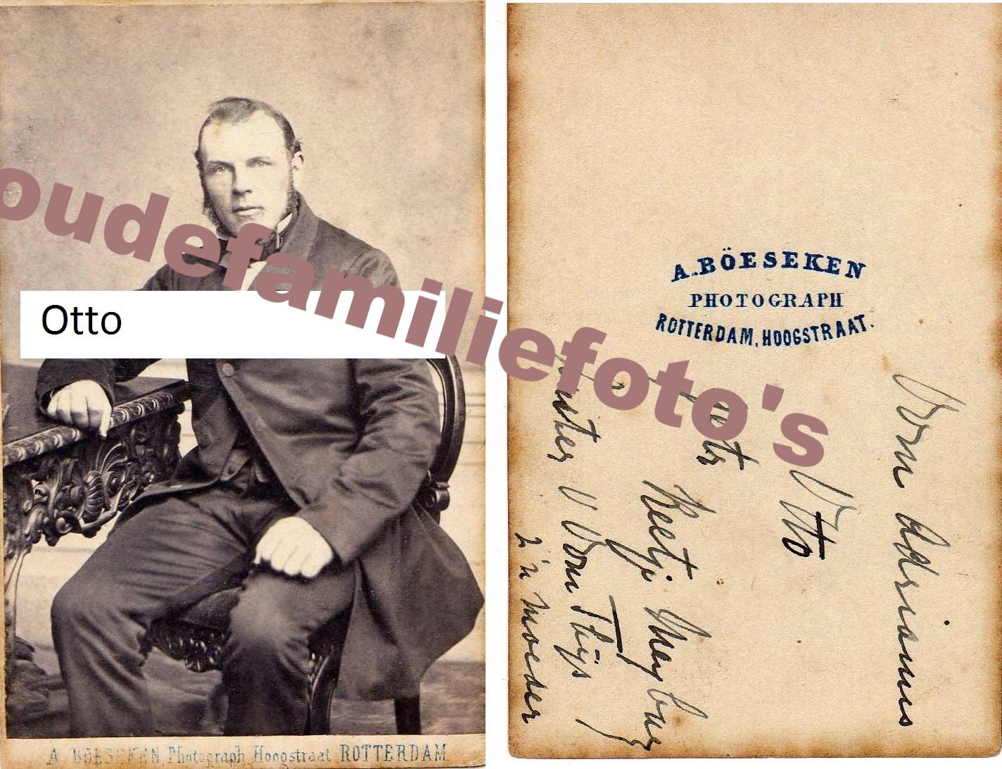 Otto, Adrianus Jacobus. Gehuwd 9-12-1869 te Oudshoorn met Cornelia Helena Meijburg. € notk.