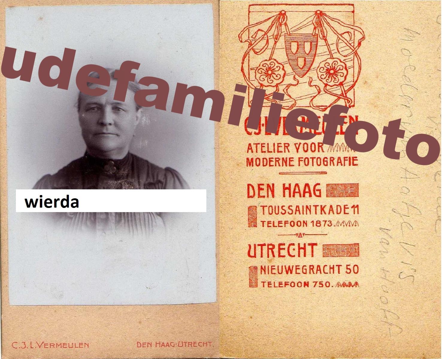 Wierda, Geertruida. geb: 12-2-1840 Leeuwarden. Getrouwd met Dirk Vis. € 3,50