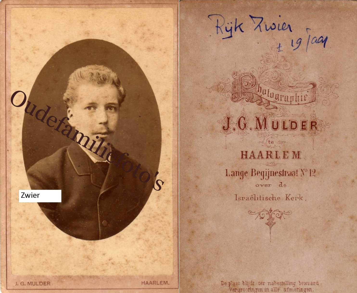 Zwier, Rijk. Geb. 13-2-1863 Amersfoort Ovl. 14-2-1927 Wiesbaden. Inspecteur IJkwezen Ned. Indié. € 3,00