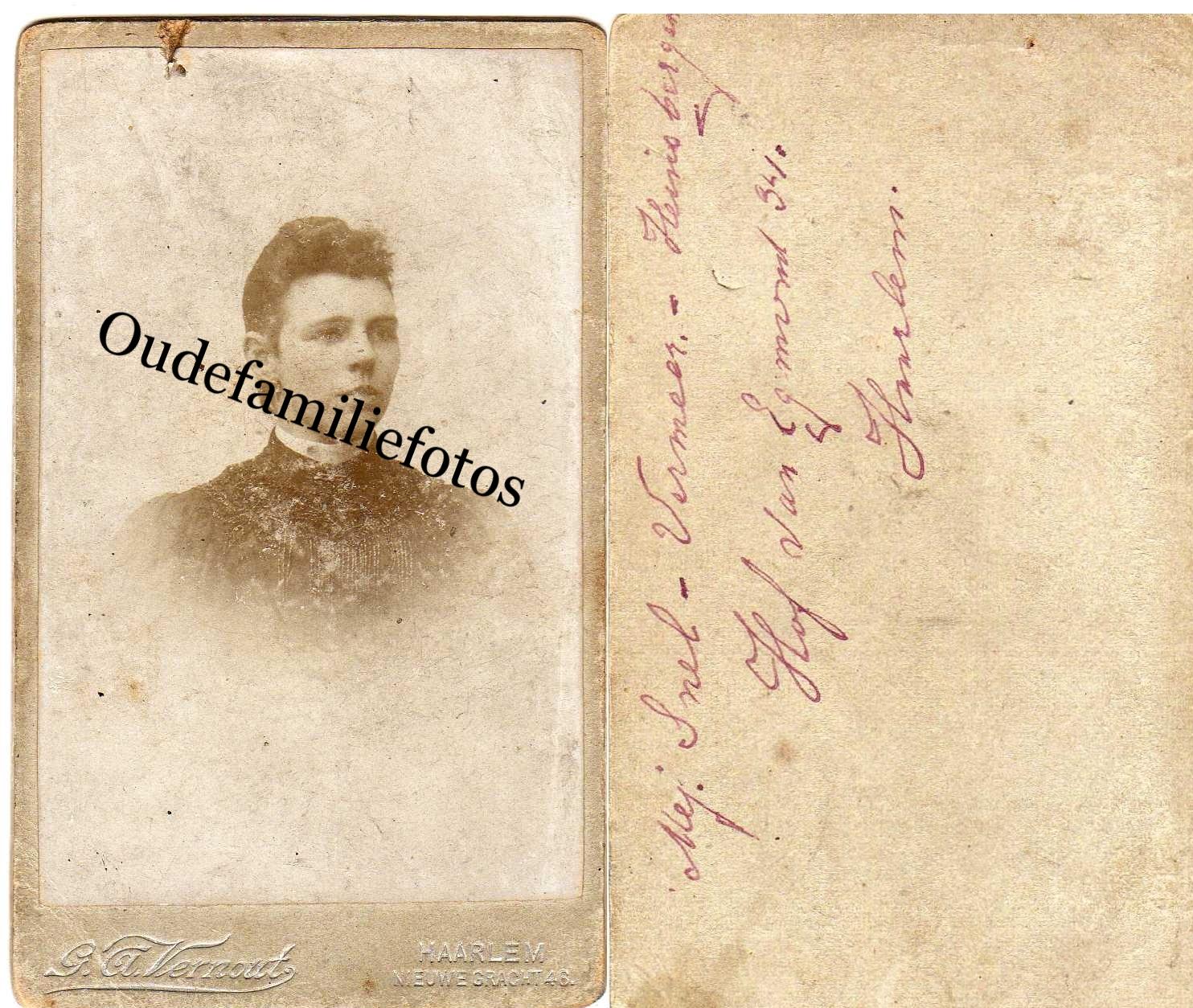 Hijnsbergen, Jansje. geb. 24-9-1876 Haarlem. getrouwd met Vermeer en Snel. € 3,00