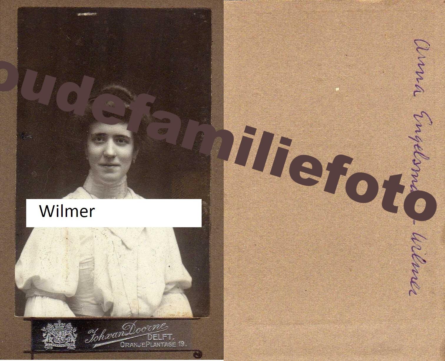 Wilmer, Anna Agnes Wilhelmina geb: 14-10-1888 Delft. Getrouwd met Johannes Andreas Engelsman € 3.50
