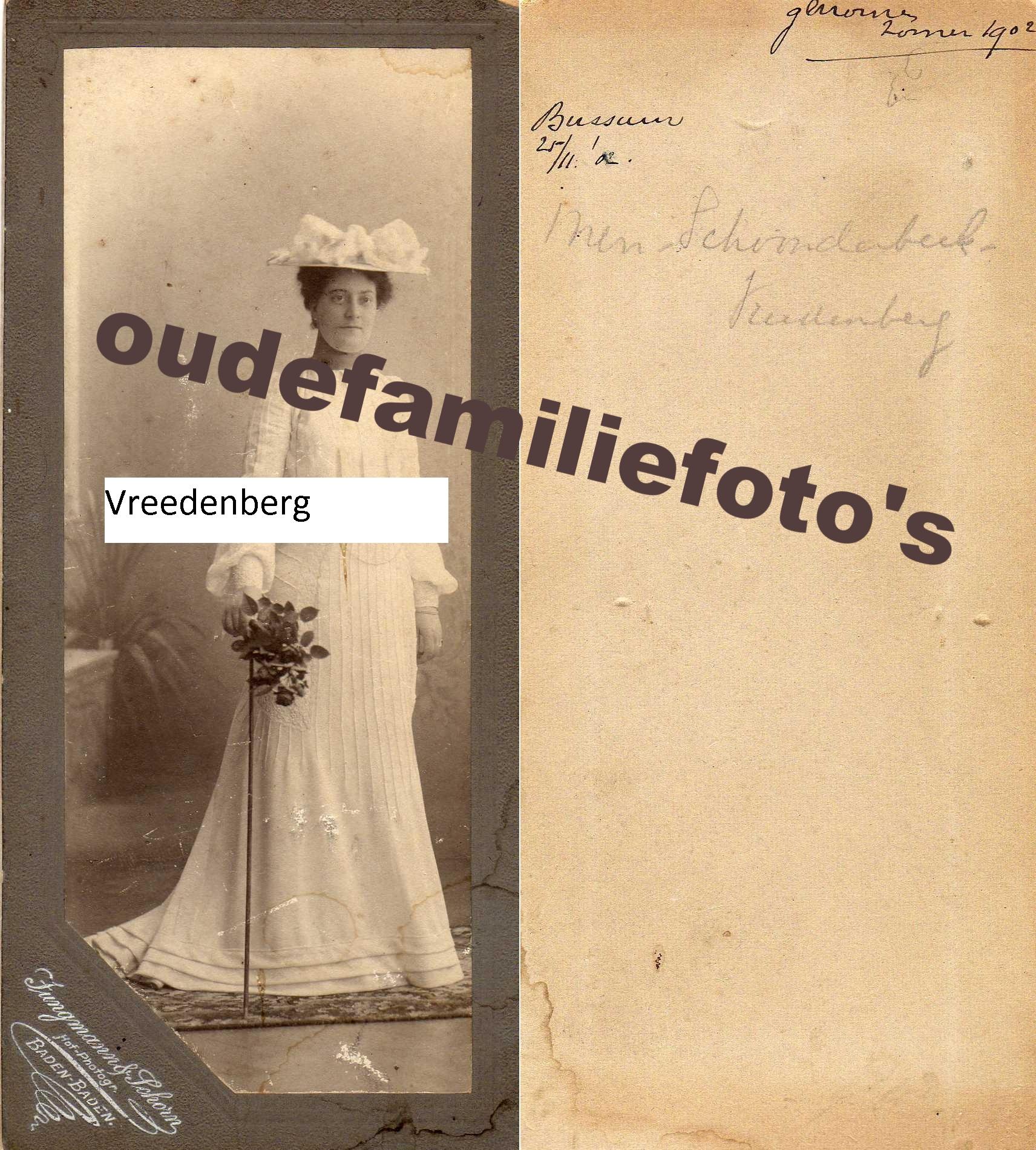 Vreedenberg, Georgette. geb. 274-1870 Amsterdam ovl. 20-7-1904 Naarden getrouwd Johannes J.H Schoonderbeek. € 3,50