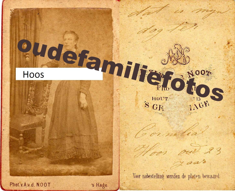Hoos, Cornelia geboren: 1-10-1848 Den-Haag dochter van Gerrit Hoos  € 3,00