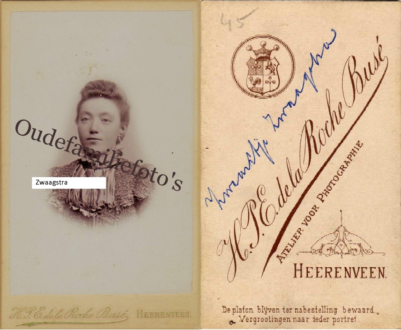 Zwaagstra, Zwaantje. Geb. 26-1-1877 Benedenknijpe. ovl. 16-7-1949 Heereveen. Getrouwd met Jan Brouwer. € 3,00