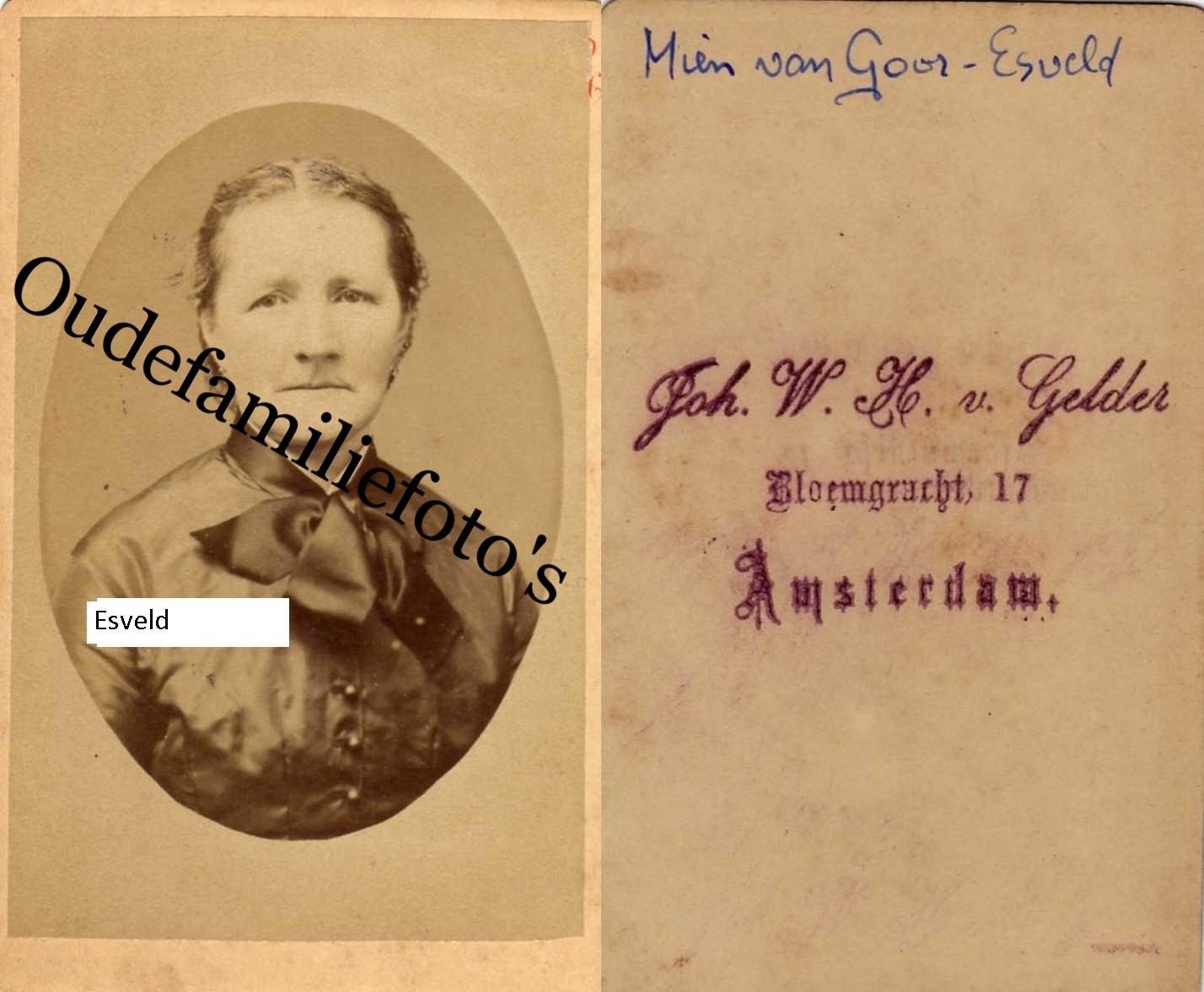 Esveld van, Hermina. Geb. 12-5-1833 Amersfoort Ovl. 27-12-1907 Amersfoort Getrouwd met G.W. van Goor € 3,00