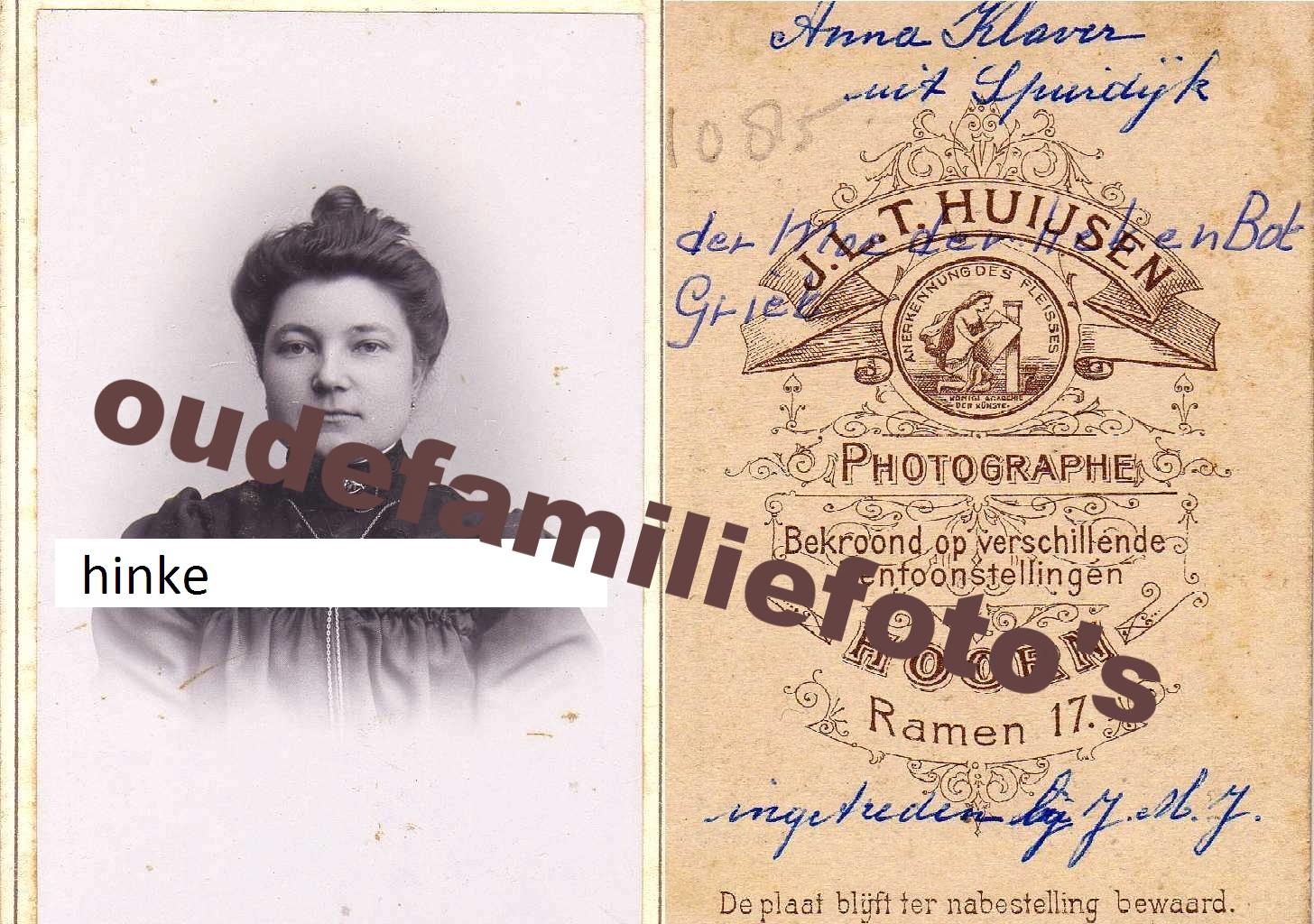 Hinke, Anna geboren 12-4-1889 Spanbroek getrouwd met Johannes Wilhelmus Klaver € 4,00