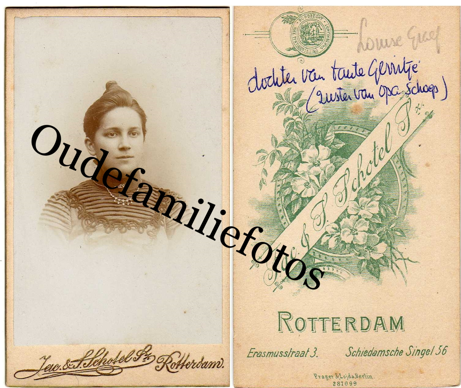 Graaf, Louisa Adriana. Geb. 6-5-1872 Rotterdam. getrouwd met Jan Berger. € 3,00