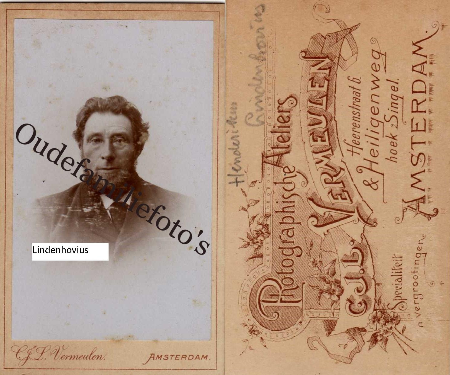 Lindenhovius, Hendrikus Adolf. Geb. 26-6-1844 Meppel ovl. 2-12-1917 Meppel Getrouwd 28-8-1875 met M.E. Bot € 3,50