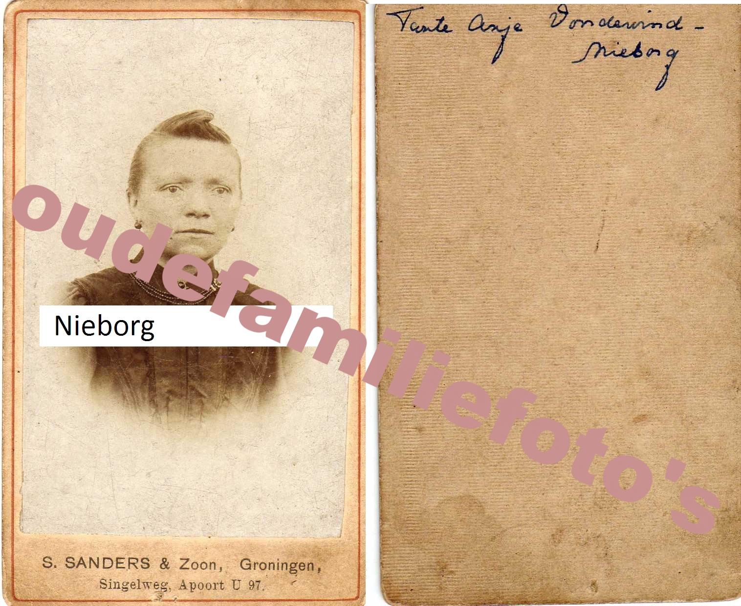 Nieborg, Antje. Gehuwd 25-4-1891 te Hoogezand met Jacob voor de Wind. € 3,00