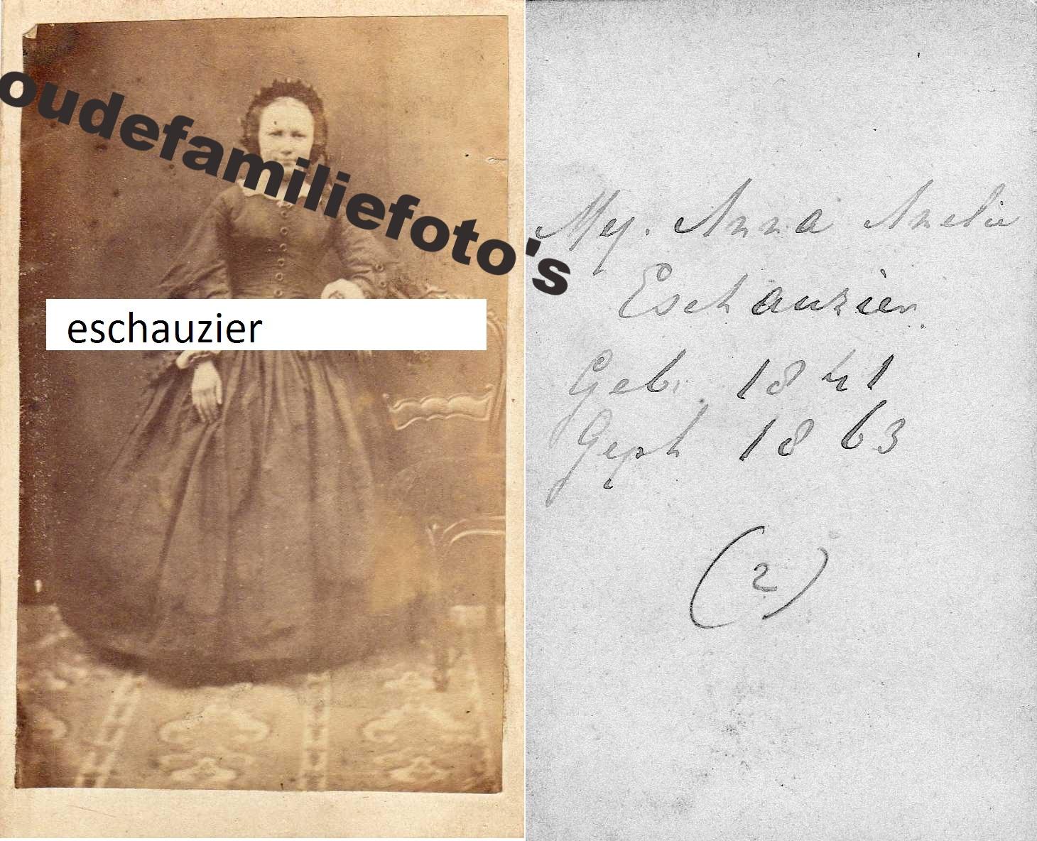 Eschauzier, Anne Amelia geb: 9-4-1841 Terschelling. ouders Willem Samuel Louis en Neeltje Gerrits Swart. € notk