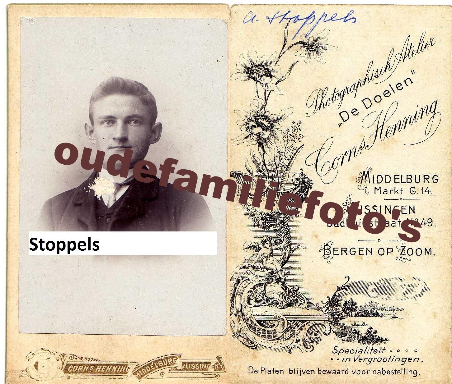 Stoppels, Abraham Jacobus. Geb: 6-12-1883 Serookerke. gehuwd 2-10-1908 Maria Pieternella Roose. € 3,00