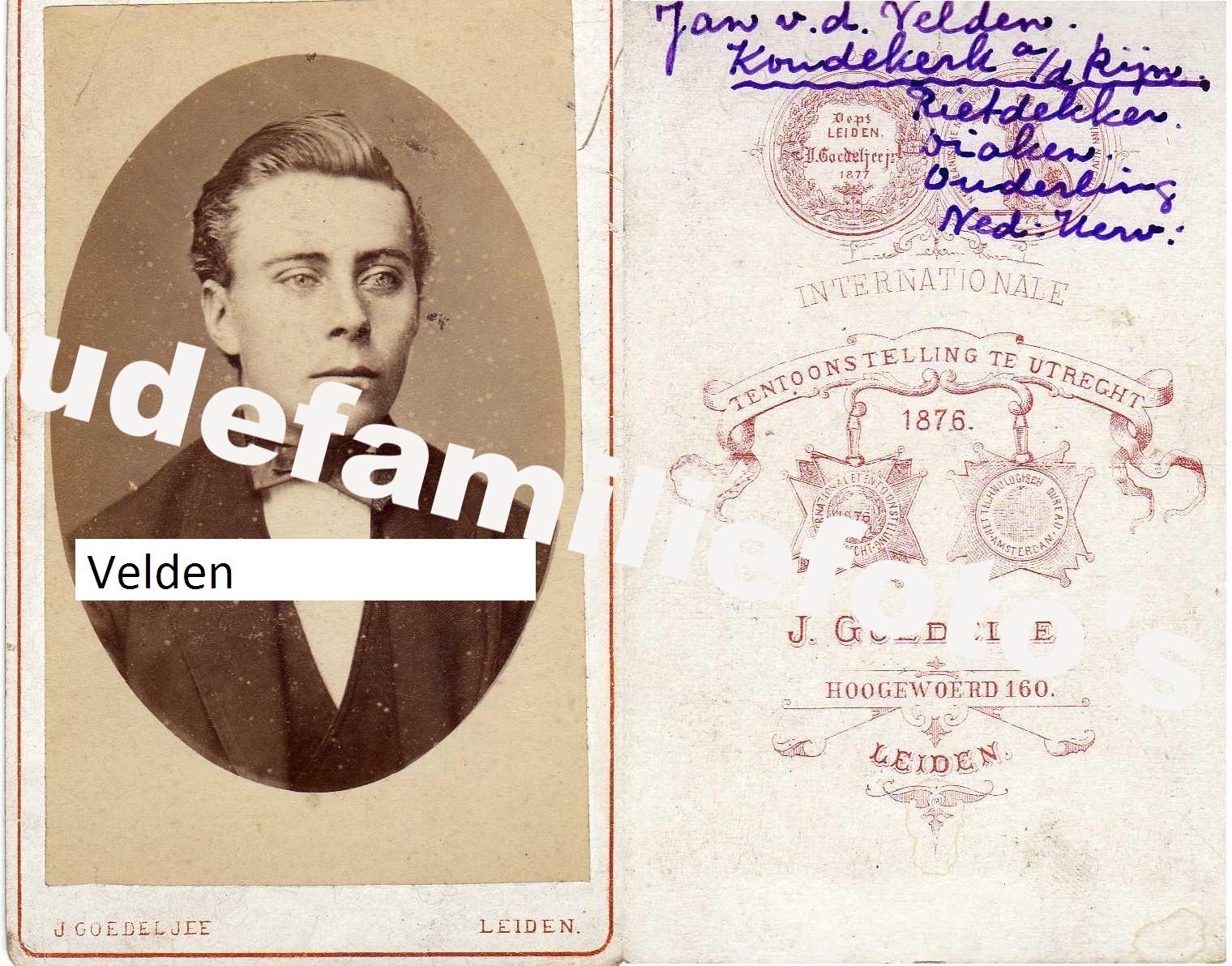 Velden van de(r), Jan. familie van Vliet, Cornet. € 4,00