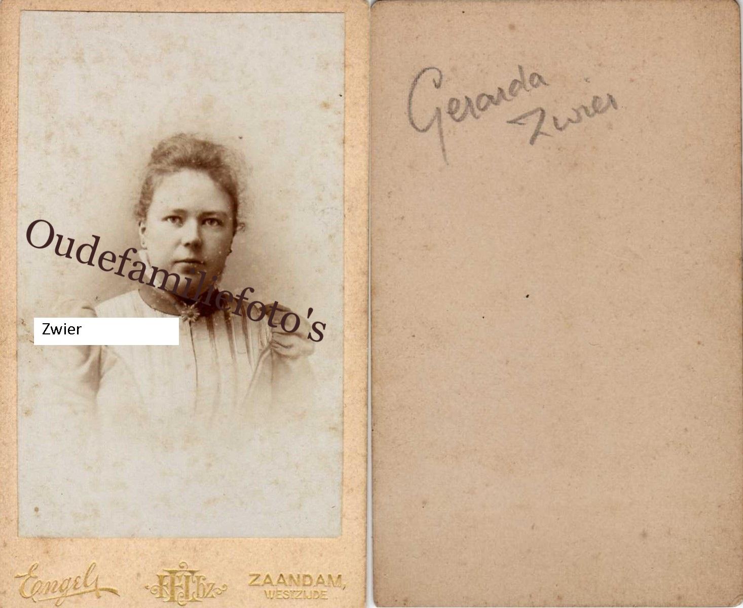 Zwier, Gerarda Hendrika Geb 25-10-1872 Amersfoort Ovl. 17-3-1942 Amersfoort € 3,00
