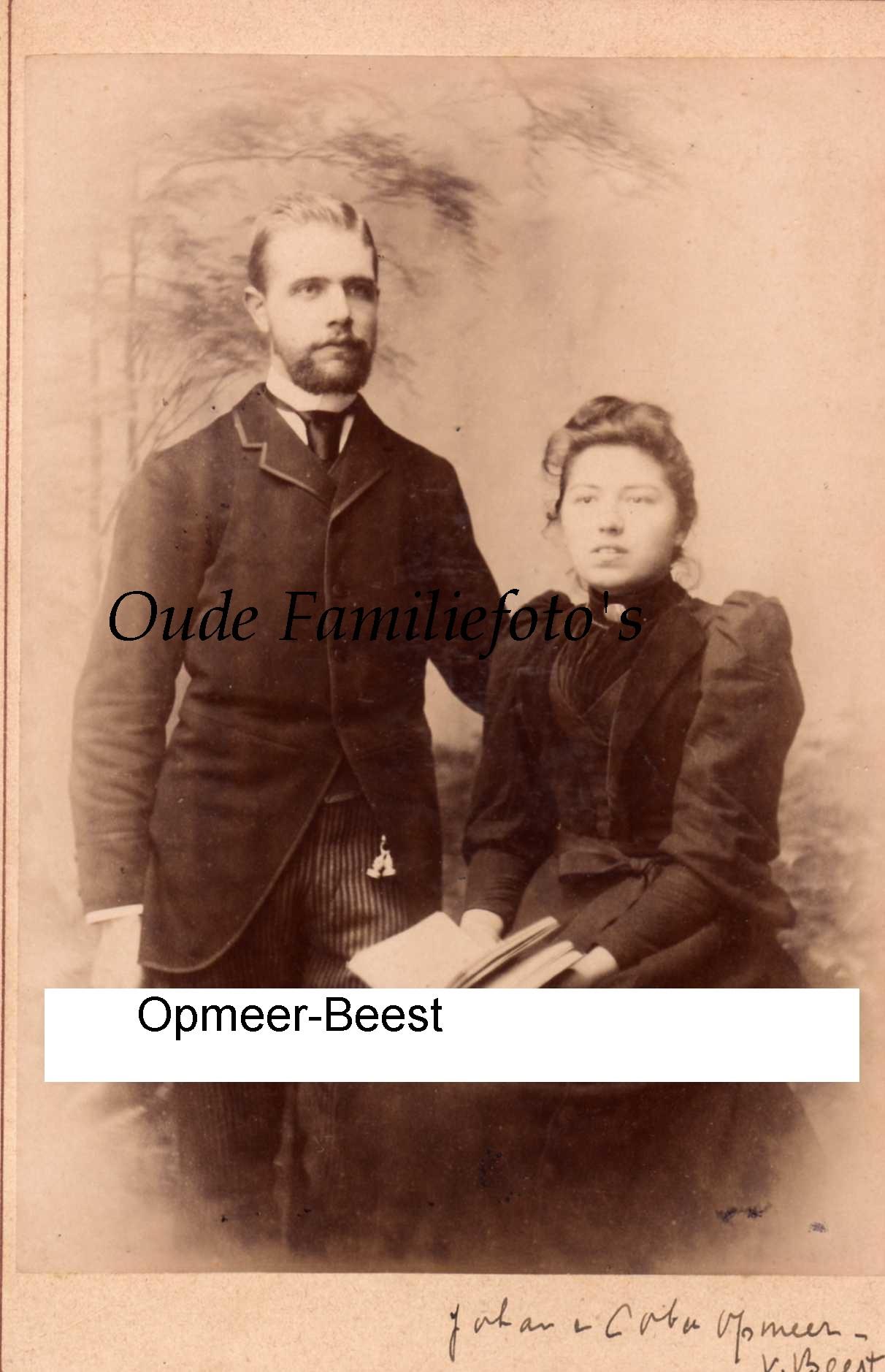 Opmeer, Johannes Leonardus Jacobus. Geb. 27-9-1869 Den-Haag Ovl. 21-10-1904 Ede getrouwd net o.a J.E van Beest. € 4,00