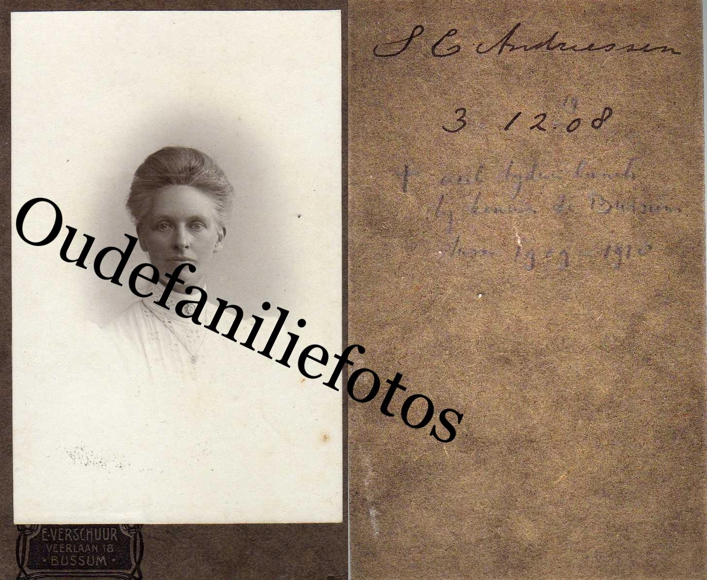 Andriessen, Suzanna Catharina. Geb. 7-1-1864 Zijpe ovl. 12-6-1913 Bussum. € 3,00