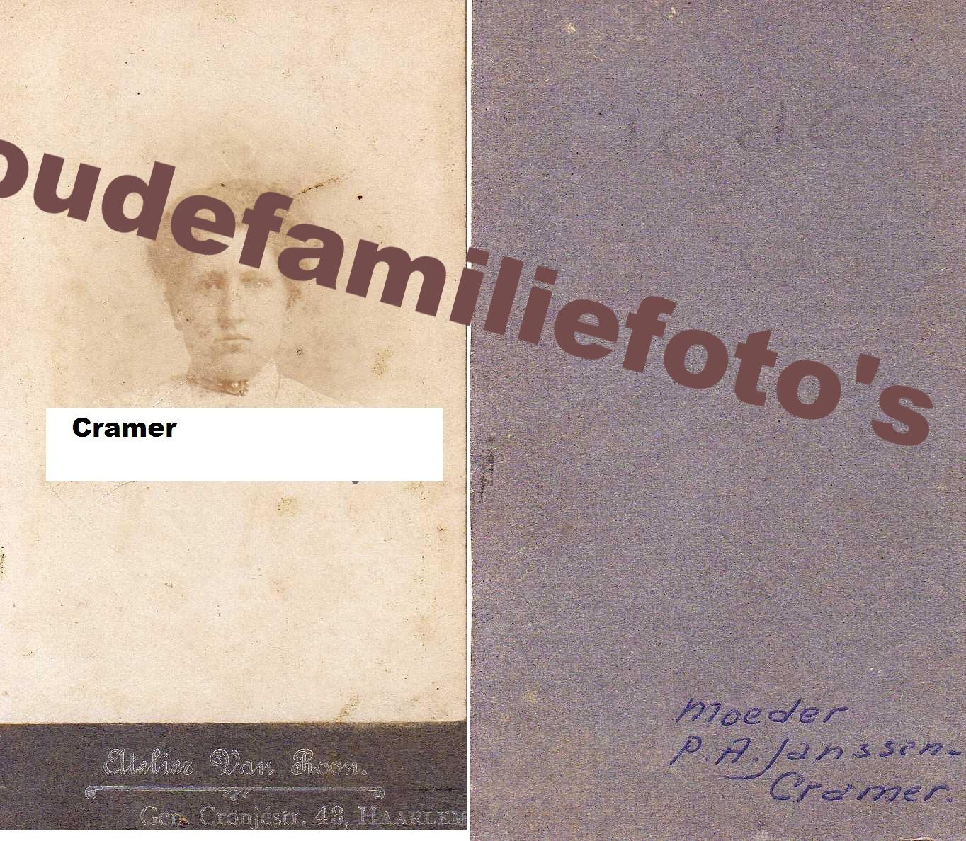Cramer, Petronella Antonia geb. 18 januari 1884 getrouwd Bernardus Petrus Janssen € 3,00