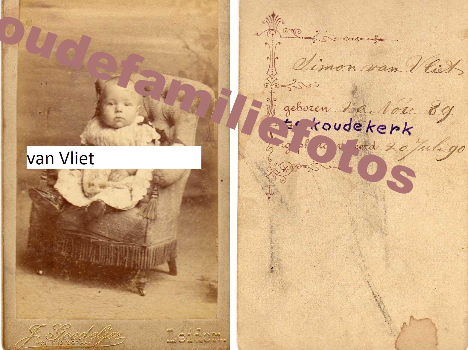 Vliet van, Simon. Geboren op 20-11-1889 te Koudekerk. ouders: Cornelis en Neeltje Schouten  € 3.00